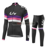 2017 Team Liv Womens Lady Cycling Long Suit Black Pink Purple