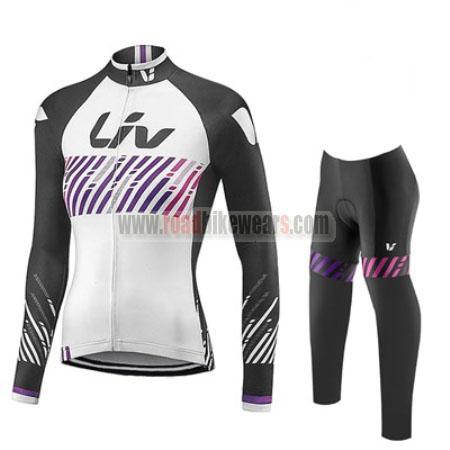 2017 Team Liv Womens Lady Cycling Long Suit Black White Purple