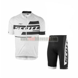 2017 Team SCOTT Biking Outfit Cycle Jersey and Padded Shorts Roupas  Bicicleta White Black 5a498491d