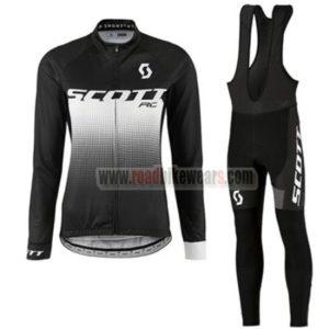 05a73fc9e 2017 Team SCOTT Women s Cycle Apparel Biking Long Sleeves Jersey and Padded  Bib Pants Tights Roupas De Ciclismo Black White
