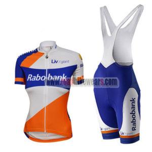 2015 Team Rabobank Ladies Riding Outfit Cycle Jersey and Padded Bib Shorts  Roupas Bicicleta White Blue Orange 01335cc88