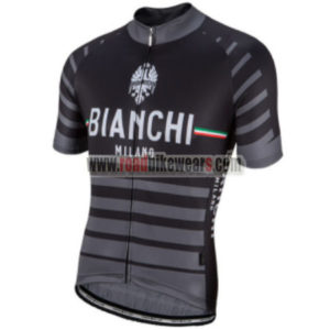 2017 Team BIANCHI MILANO Biking Jersey Maillot Shirt Black Grey