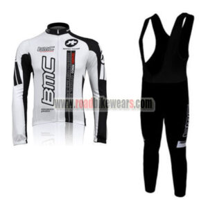 2010 Team BMC Cycle Long Bib Suit White Black