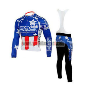 2010 Team BMC HINCAPIE Cycling Long Bib Suit Blue Red