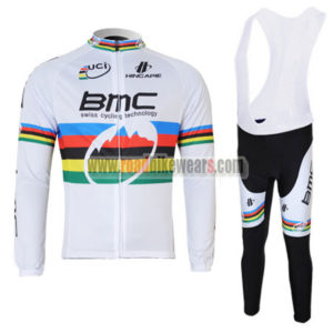 2011 Team BMC UCI Champion Cycling Long Bib Suit White Rainbow