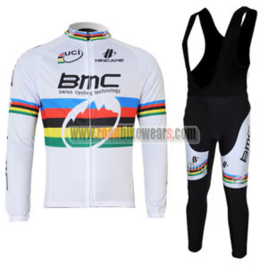 2011 Team BMC UCI Champion Riding Long Bib Suit White Rainbow