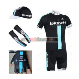 2015 Team BIANCHI Bike Riding Apparel Set Cycle Jersey and Padded Bib Shorts +Cap+Gloves+Arm Sleeves ae206c1f2