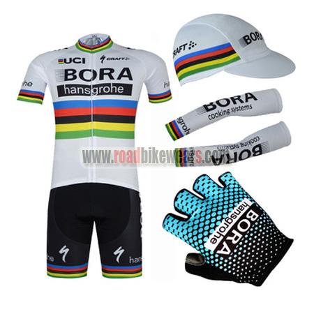 2017 Team BORA hansgrohe UCI Champion Bike Riding Apparel Set Cycle Jersey  and Padded Bib Shorts+Cap+Gloves+Arm Sleeves 4c0b72ec5