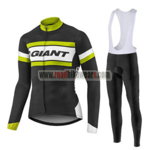 2017 Team GIANT Cycling Long Bib Suit Black White Yellow