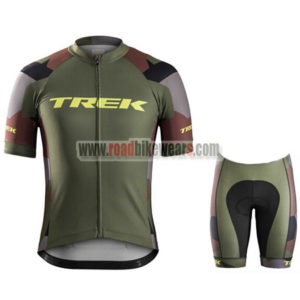a010c59a45b 2017 Team TREK Riding Uniform Cycle Jersey and Padded Shorts Roupas  Bicicleta Olive Green