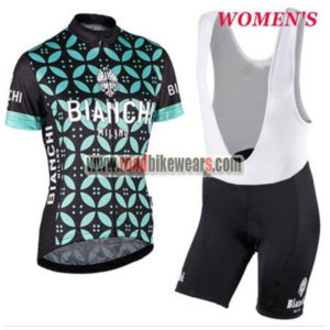 2017 Team BIANCHI Ladies Riding Outfit Cycle Jersey and Padded Bib Shorts  Roupas Bicicleta Black Blue Flower 879ccd12b