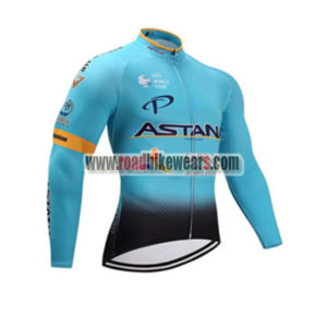 2017 Team ASTANA Cycling Long Jersey Blue Black 46c28d8d4