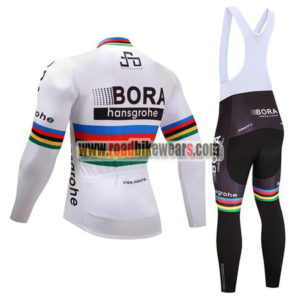 2017 Team BORA hansgrohe UCI Champion Riding Long Bib Suit White Rainbow