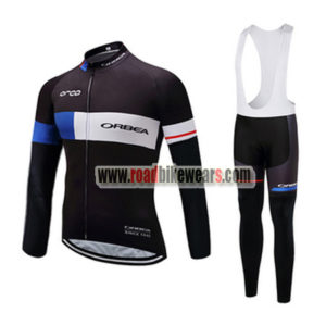 2017 Team ORBEA Cycling Long Bib Suit Black BLue White e30c10317