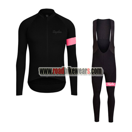seleccione para mejor mejores zapatos encontrar el precio más bajo 2017 Team Rapha Winter Riding Wear Thermal Fleece Biking Long Sleeves  Jersey and Padded Bib Pants Tights Roupas De Ciclismo Black Pink