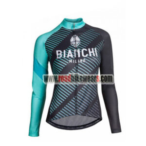 2018 Team BIANCHI Women s Winter Cycle Apparel Thermal Fleece Biking Long  Sleeves Jersey Ropa De Ciclismo Black Blue 577ed6c6e