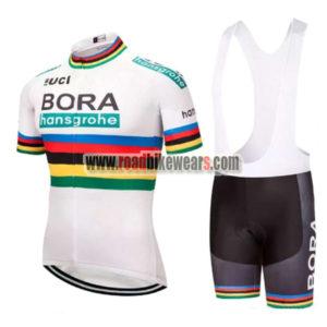 629b7fd0f 2018 Team BORA hansgrohe UCI Champion Cycling Bib Kit White Rainbow ...