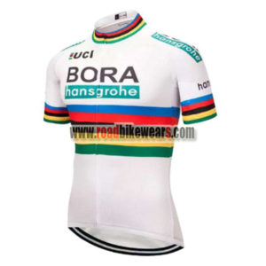 2018 Team BORA hansgrohe UCI Champion Cycling Jersey Maillot Shirt White  Rainbow ... 8397de551