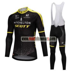 6930db134 2018 Team MITCHELTON SCOTT Cycling Long Bib Suit Black Yellow