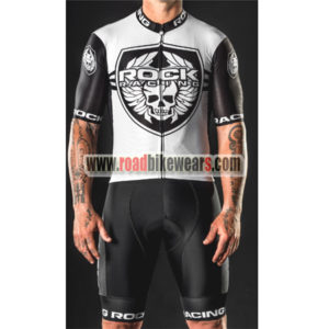 2018 Team ROCK RACING Summer Winter Riding Uniform Cycle Jersey and Padded  Shorts Pants White Black a4fbd6d1d