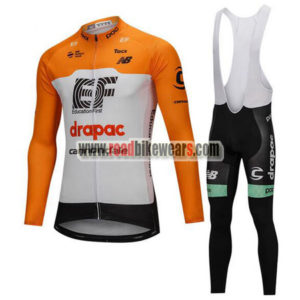 2018 Team drapac cannondale Cycling Long Bib Suit Yellow White 222df5ee0