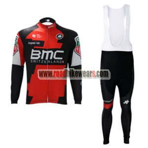 2017 Team BMC Spring Winter Riding Wear Biking Long Sleeves Jersey and  Padded Bib Pants Tights Regular Fleece Fabric Red Black 467c2d41f