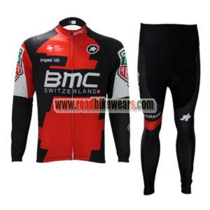 ff6e51060 2017 Team BMC Spring Winter Cycle Apparel Biking Long Jersey and Padded  Pants Tights Regular Fleece Fabric Red Black