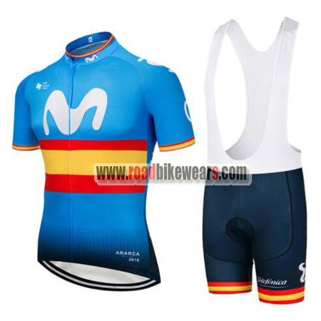 2018 Team Movistar Spain Biking Outfit Cycle Jersey and Padded Bib ... 5879cfc2e