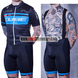 2018 Team CUBE Biking Apparel Cycle Jersey and Padded Bib Shorts Roupas  Bicicleta Black Blue 82ce25b1a