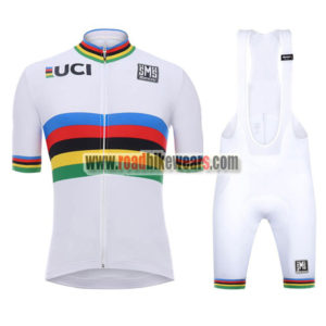 e7fde3db 2018 Team Santini UCI Champion Biking Apparel Cycle Jersey and Padded Bib  Shorts Roupas Bicicleta White Rainbow