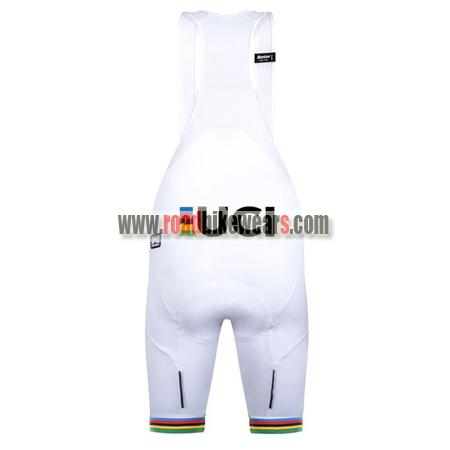 2018 Team Santini UCI Champion Riding Bib Shorts Bottoms White Rainbow 237f43a24
