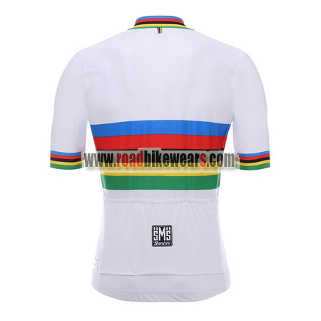 2018 Team Santini UCI Champion Riding Jersey Maillot Shirt White Rainbow 1b372f5eb