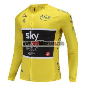 2018 Team SKY Castelli Ocean rescue Tour de France Racing Long Jersey Yellow  ... 8baac7f11